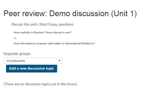 Screen shot of a peer review discussion forum without topics