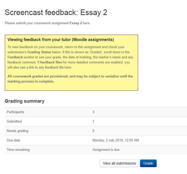 This is an image of a screencast example from Moodle Assignment.