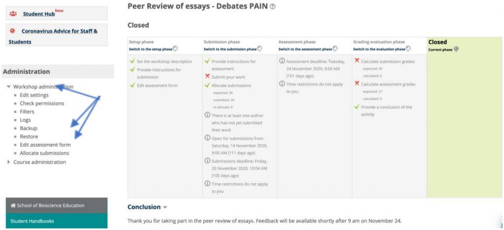 Peer Review Settings
