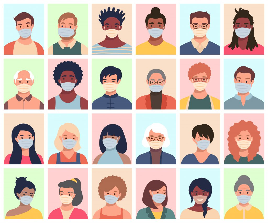 Vector set of persons, avatars, people heads of different ethnicity and age in protective masks. Men and women in flat style following recommendations for the prevention of coronavirus.
