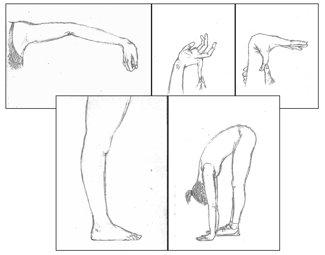 5 illustrations showing an elbow, a pinky finger, a thumb and a knee hyperextending and a person touching their hands flat to the floor.