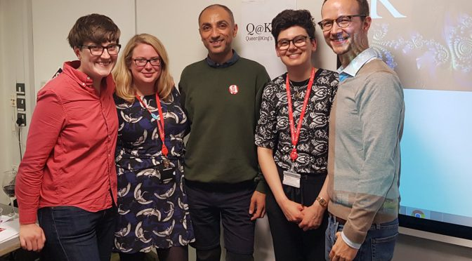 A happy photograph of Parapride's Daniel Lul with 4 Queer@King's members at the announcement of the Activist-in-Residence scheme