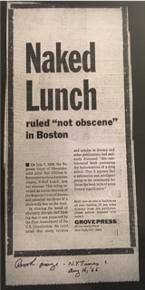 Photograph of a newspaper clipping titled ' Naked Lunch ruled not obscene in Boston' taken from the Berg Collection