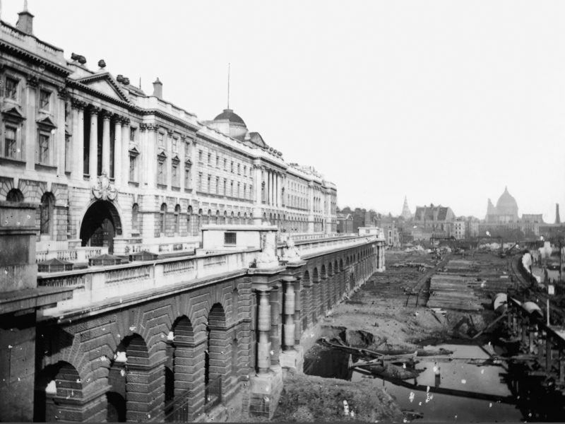 South side Somerset House and King's College London, before the embankment. c. 1864 via History Today.