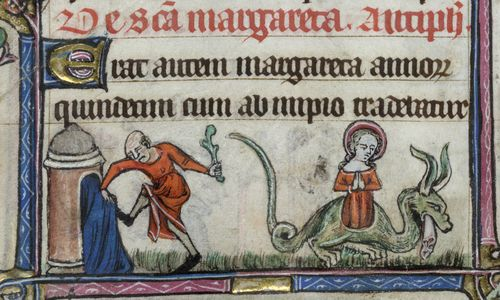 St Margaret being thrown into prison, and escaping from the belly of the dragon, from the Taymouth Hours, England, 2nd quarter of the 14th century, British Library, Yates Thompson MS 13, f. 86v