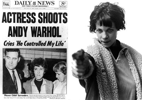 Image via VICE: A front page of the 'Daily News' with the headline 'Actress shoots Andy Warhol', and a portrait of Valerie Jean Solanas holding a gun.