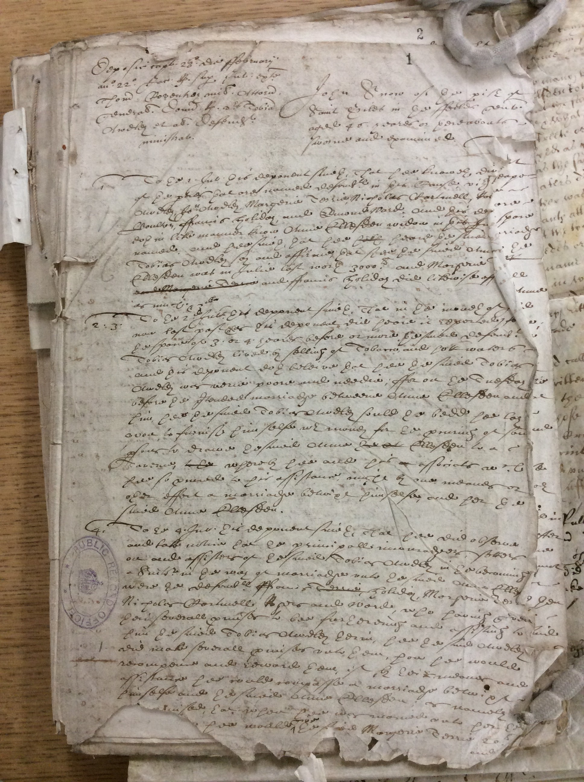 The deposition of John Snowe in one of the lawsuits over the marriage of Anne Elsden and Tobias Audley, one of the documents on which our symposium and workshop scenes drew. The National Archives, STAC 8/13/16 [link: http://discovery.nationalarchives.gov.uk/details/r/C5568370]. We are very grateful to Lauren Cantos, Kim Gilchrist, Jennifer Hardy, Suzanne Lawrence, Miranda Fay Thomas and Jennifer Young for helping us to prepare transcriptions of the lawsuits
