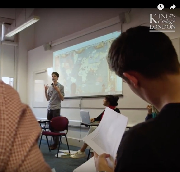 Dr Tom Langley, from the Department of Comparative Literature, at a lecture. A still from the departmental film at https://www.kcl.ac.uk/artshums/depts/complit/about/index.aspx.
