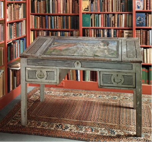 Virginia Woolf's writing desk, part of Duke's special collections. Photo credit: Amy Murat, 2017