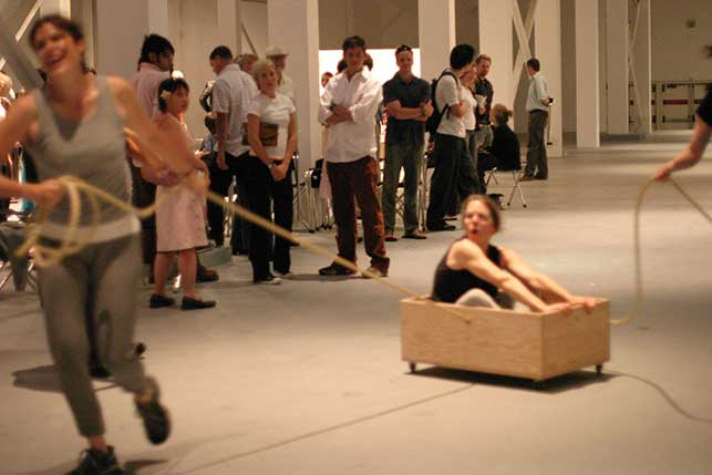 Roller Boxes (1960), performed at The Museum of Contemporary Art, Los Angeles, 2004. Photo: Carol Peterson.