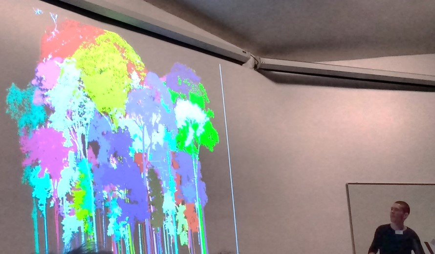Dr Mathias Disney presented 'New ways of looking at old forests: detecting ecosystem change using 3D measurements and models.' at  Space – the final frontier for biodiversity monitoring? Symposium (ZSL, Meeting Rooms, London, 29 April 2016). Photo: Claudia Gutierrez