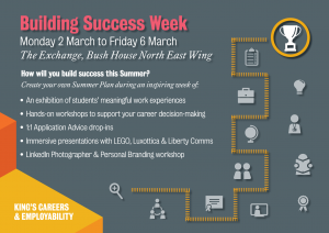 """Invitation to Building Success Week. The text reads """"How will you build success this Summer? Crete your own Summer Plan during an inspiring week"""""""