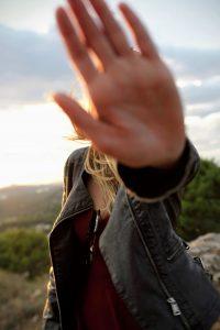 image of girl saying 'no'