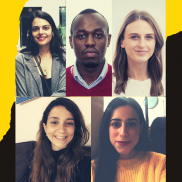 five faces, three on top row, two on bottom row showing the student authors in a smiling professional setting. In the background of the 5 photos, a mix of black and yellow background highlights the upward dynamic of their journey.