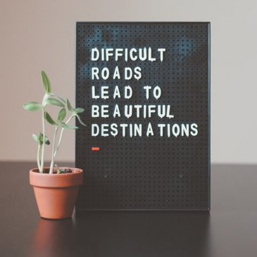 """Image reads """"difficult roads lead to beautiful destinations"""" on an old-fashioned pinboard with a growing plant next to it."""