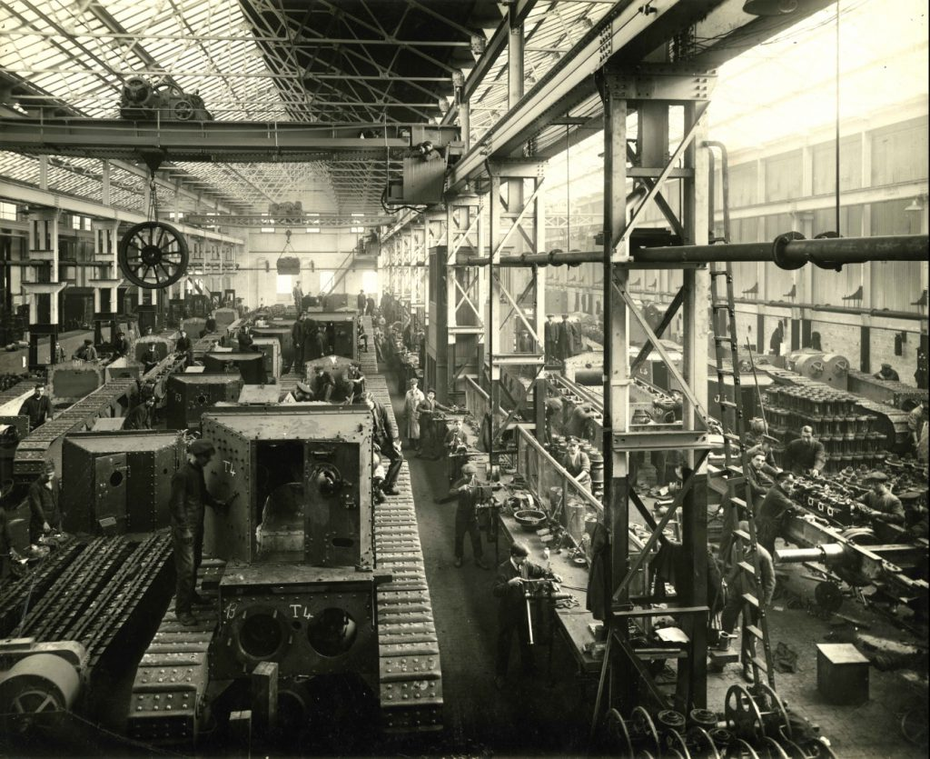 Interior of a British Tank Factory during the First World War