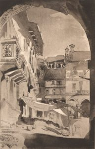 A street scene from the northern Italian city of Vercelli, painted by Ruskin in 1846
