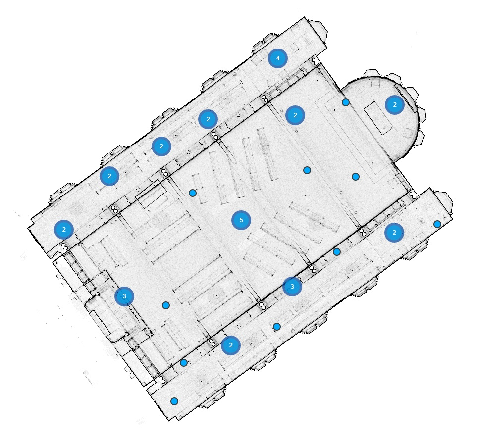 An image showing a floor plan of The Chapel at King's College London, with blue dots representing locations of laser scans