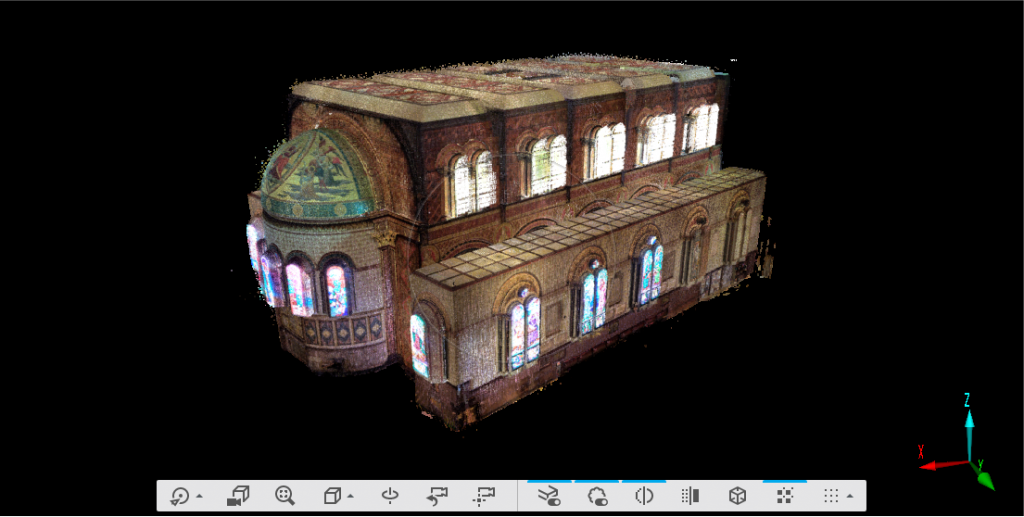 A screenshot of a 3D point cloud showing the exterior of The Chapel, as if it were floating in space.