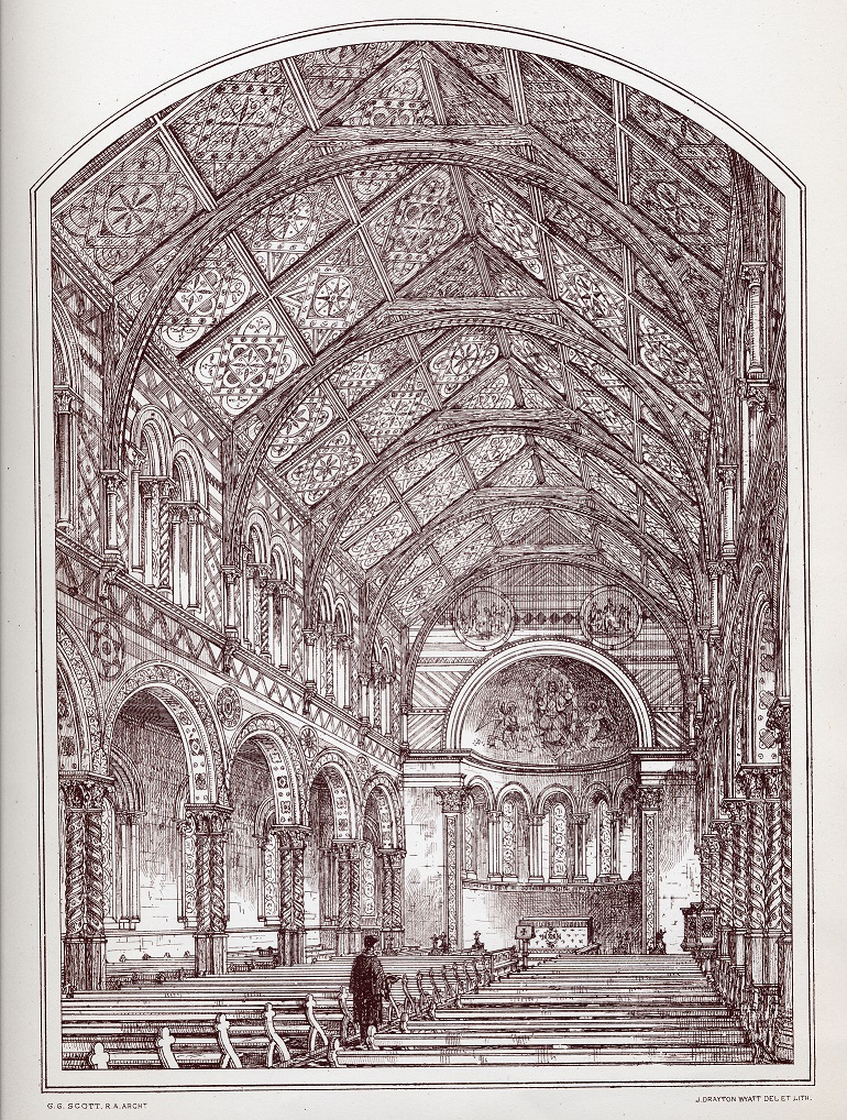 A print of an engraving showing the proposed design for the King's College London Chapel by George Gilbert Scott produced by J Frayton Wyatt.