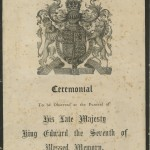 Front cover of 'The order of ceremonial for the funeral of King Edward VII', 20 May 1910