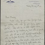 First page of letter from Arthur Bryant to his mother May, 18 February 1918