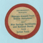 Publicity card dropped on Newcastle upon Tyne in the last week of 1917 urging the public to buy war bonds from Julian Tank