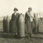 Women with howitzer ammunition, from an album by Maj Gen Charles Foulkes of a visit by him to France, Belgium and the Rhine in 1919