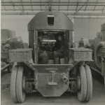 Photograph captioned 'Inside armoured car', from the papers of Lt Col Sir Albert Gerald Stern