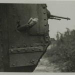Photograph of pigeon being released from tank, from the papers of Lt Col Sir Albert Gerald Stern. For more information on the use of pigeons in WW1, see our blog post from 4 April 2014