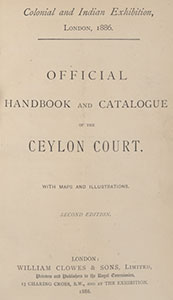 Title page of Officila catalogue of the Ceylon Court, 1886