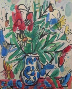 """Bouquet of Flowers, ink and watercolour, 12"""" x 10"""", c. 1970"""