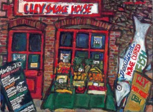 "Cley Smoke House, oil on board, 18"" x 24"", 1994"