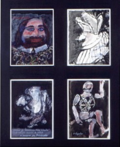 "Four Pictures for the Commedia dell'Arte, ink and wash and gouache Multiple: each 11"" x 8"", 1964"