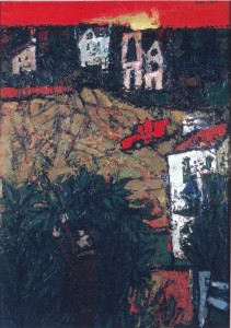 "Hedge-cutting and Harvesting, Oil on canvas 40"" x 28"", 1968"
