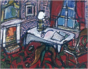 "Interior at Haworth, oil on board, 16"" x 20"", 1977, reproduced courtesy of the UK Government Art Collection"
