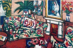 "Interior with Important Painting, oil on board, 14"" x 21"", 1987"