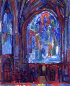 The Chapel of King's College Cambridge, Oil and casein on paper, 24 x 20, 1967