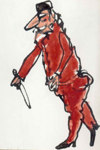 """Pantalone, ink and casein, 9"""" x 7"""", 1984"""