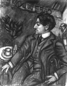 """Pascin at the Dome, Charcoal, 24"""" x 19"""", 1994"""