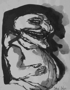 """[Laughing Punch], pen and ink drawing, 9.5"""" x 7.5"""", c. 1963"""