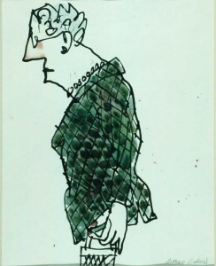 """Quilted Jacket, ink and watercolour, 10"""" x 8"""", c. 1982"""