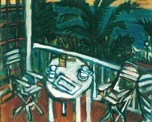 """Catia's Terrace, oil on canvas, 22"""" x 25"""", 1991"""