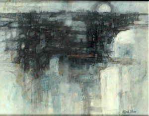 """Docklands Morning, oil on canvas, 16"""" x 20"""", 1961"""