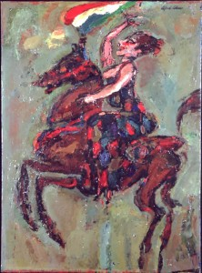 """The Entrance of Columbine, oil on board, 30"""" x 22"""", 1963"""