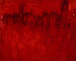 "Parliament, oil on canvas, 34"" x 44"", 1961"