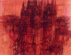 """Towers -- Tower Bridge, oil on canvas, 28"""" x 36"""", 1961"""