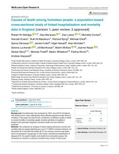 Recent article from the HSCWRU study examining Hospital Discharge of homeless people