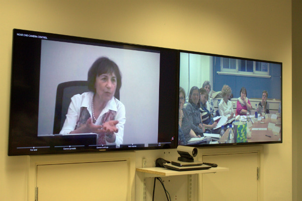 Prof Bogo (left, in Toronto) addressed seminar participants at King's College London via video link