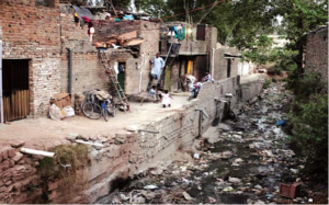 Rubbish and heavily polluted water in Islamabad's France Colony